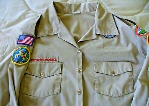 Boy Scouts BSA Female Uniform Shirt Blouse Long Sleeve Size 44 Poly/Cotton USED