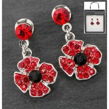 Poppy remembrance earrings silver plated gift