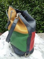 Grand sac LONGCHAMP forme seau France vintage cuir véritable graine format A4