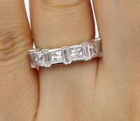 2 Ct 14K White Gold Square Princess Baguette Cut Wedding Anniversary Ring Band