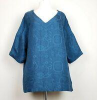 Soft Surroundings XL Top Teal Blue Jacquard V-Neck Misses
