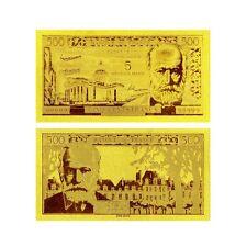 BILLET 5 NOVEAUX FRANCS ON 500 VICTOR HUGO 1958 REPLICA OR GOLD 24K