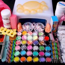 36W UV Lamp Light Acrylic Glitter Nail Art Pen Brush UV Gel Powder Set Kit Tips