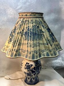 ANTICO LUME LAMPADA CERAMICA DELFTS ORIGINALE MADE HOLLAND ABAT JOUR RARA TAVOLO