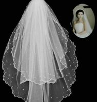 2T bridal wedding veil with pearl elbow length wave edge with comb Veil
