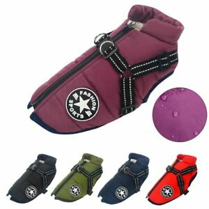 Waterproof Large Pet Dog Jacket Harness Winter Warm Clothes Coat Vest Outfit New
