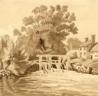 Eel Traps by River Weir – Original early 19th-century watercolour painting