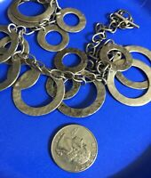 VTG HAMMERED STERLING SILVER 925 CIRCLE CHAIN LINK TOGGLE NECKLACE 55G PATINA