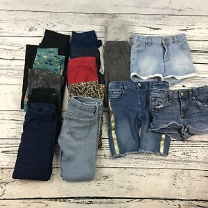 Mixed Lot Of 15 Toddler Girl Pants Shorts Size 5