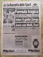 LA GAZZETTA DELLO SPORT N.111 DEL 13 MAGGIO 1994 - FORMULA TRAGICA (GS3)