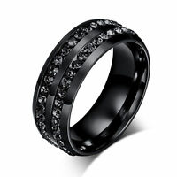 Men Women 8MM Stainless Steel CZ Titanium Ring Band Size 7-12 Engagement Wedding