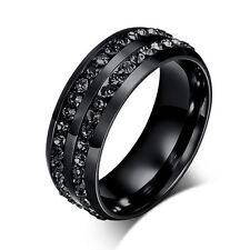 8MM Black Stainless Steel Ring Hot CZ Rhinestones Titanium Wedding Band Jewelry
