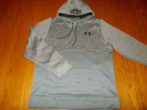 UNDER ARMOUR STORM 1 GRAY HOODED SWEATSHIRT MENS MEDIUM GOOD CONDITION
