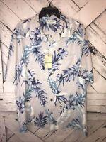 Caribbean Mens Hawaiian Button Down Shirt Size XL Blue Floral