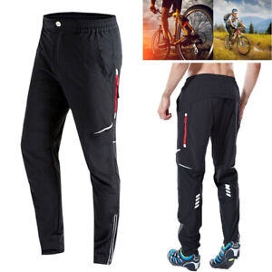 Mens Cycling Trousers MTB Mountain Bike Windproof Reflective Sportswear Pants