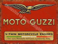Vintage Garage Moto Guzzi, 121, Italian Motorcyles V-twin, Medium Metal/Tin Sign