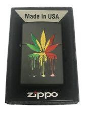 Zippo Custom Lighter Drippy Rasta Marijuana Weed Pot Leaf Design New Gift USA
