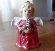 """Angel Bell Ornament by Goebel w/ Teddy Bear In Red 1991 2.75"""" Tall"""