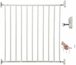 Callowesse© Screwfit Metal Stair Gate 76-81cm, White. No Trip Baby / Dog Gate