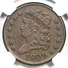 1809 C-5 NGC AU 55 Classic Head Half Cent Coin 1/2c