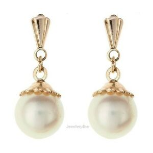 9ct Gold Round 7mm Real Cultured Freshwater Pearl Drop Earrings Mum's B'day GIFT