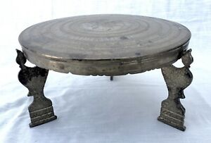Vintage Chased/Tooled 3 Legged Solid Brass Gong/Drum - Bird
