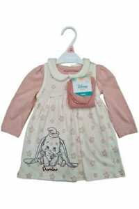 Disney Baby Dumbo Elephant Girls Dress Tights Outfit Set Nutmeg Pinafore Top