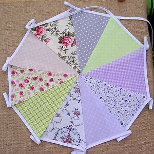 HANDMADE FABRIC BUNTING 10ft FLORAL SPOT WEDDING PARTY SHABBY CHIC