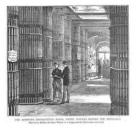 TOWER OF LONDON The Armoury - Antique Print 1885