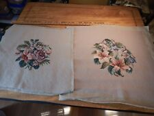 """Vintage Large Needlepoint Pair Floral With Beige Colored Background 20"""" x 21"""""""
