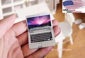 Dollhouse Miniature 1:6or1:12 Scale Metal Laptop Computer Notebook Toy Accessory