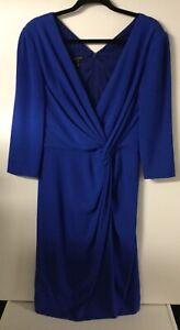Escada Cobalt Blue Long Sleeve Dress Size 12 L