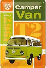 VW Camper Van T2 embossed metal sign  300mm x 200mm  (na)