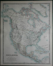 1887 LARGE VICTORIAN MAP ~ NORTH AMERICA DOMINION OF CANADA UNITED STATES MEXICO