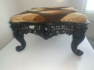 Antique Foot Stool Cast Iron Base FREE SHIPPING