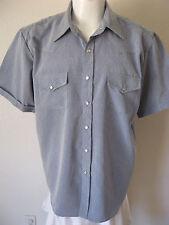 Mens Western Pearl Snap Shirt L Short Sleeve Slate Gray Cowboy Classic Style NEW