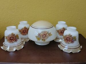 Porcelain Ceiling Fan Set Brown Floral Globe Plus 4 Ruffled Tulips