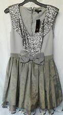 River Island Party Dress. Silver sequins.Grey taffeta. Skater skirt.Net. 12 NWT.