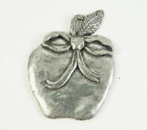 SHERIDAN Pewter Apple with Bow Christmas Ornament/ Pendant 1992