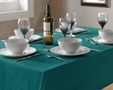"TEAL LINEN LOOK TABLECLOTH 180CM (70"") ROUND"