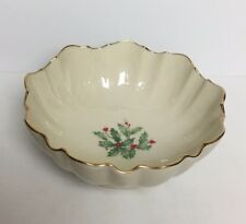 "Vtg Lenox Christmas Special Ivory 6"" Bowl Holly and Berry 24K Trim"