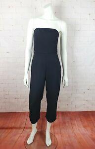 Kookai Women Size 36 AU 8 Black Strapless 3/4 Leg Oyster Jumpsuit Belt Included
