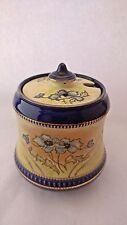Antique S Fielding & Co. Crown Devon Cobalt & Gold Handpainted Preserve Pot Jam
