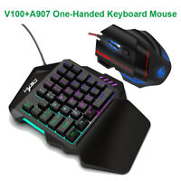 HXSJ V100+A907 Colorful Backlight One-handed Optical 35 Keys Keyboard Mouse Set