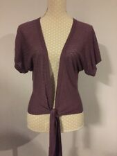 FAT FACE purple thin Knit Front Tie Short Sleeve Cardigan Size 12 VGC