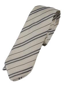 NWT - Drake's – Off-White Grenadine Silk Tie w/Navy & Gray Repp Stripe