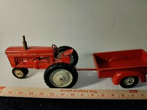 Vintage Tru-Scale Diecast Metal Red Farm Tractor and Trailer beautiful condition