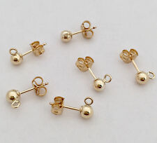 10 pcs 4mm Ball Bead Earring Post 14k Gold Filled with butterfly earring E29g