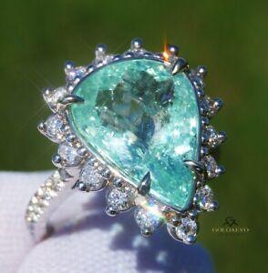 Paraiba Tourmaline Ring Gold Diamond 14K GIA Certified 7.73CTW RETAIL $16,600