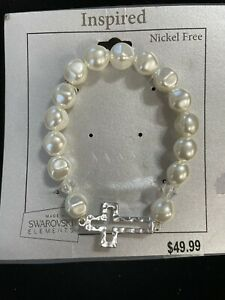 Swarovski Element Crystal Fresh Water Pearl Stretch Bracelet Cross Christian